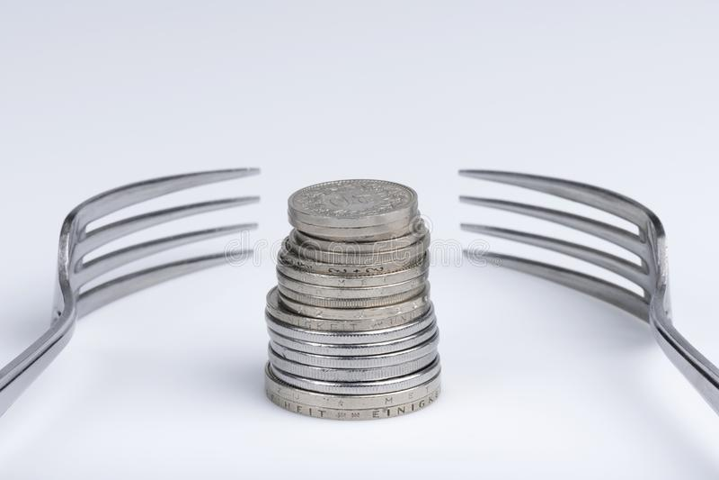 Imagination conceptuelle d'avidité financière photographie stock