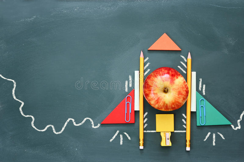 Imagination, creativity and education. Back to school. Concept of imagination, creativity and education. Back to school. Objects and info graphics sketch on the royalty free stock images