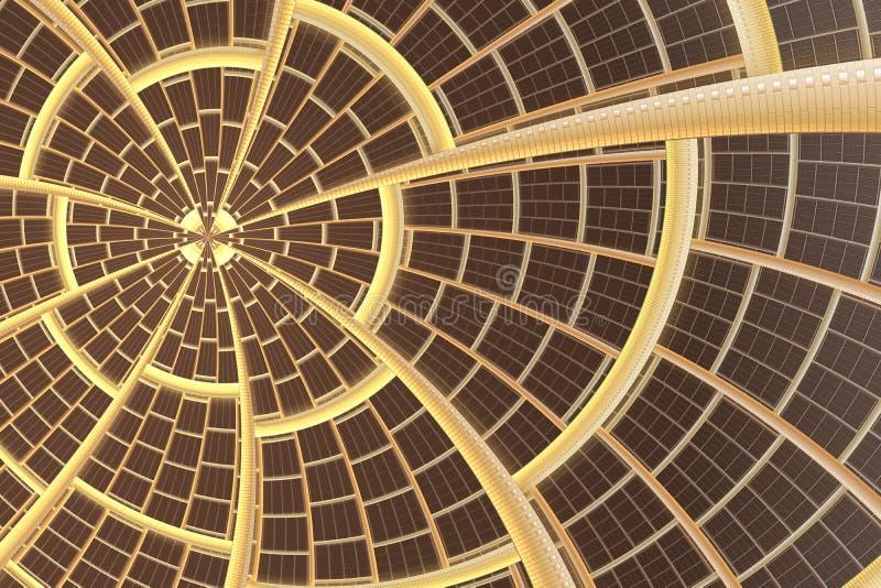 Imagination d'étoile ou de soleil de fractale Modèle solaire abstrait Innovation, concept de technologie illustration de vecteur