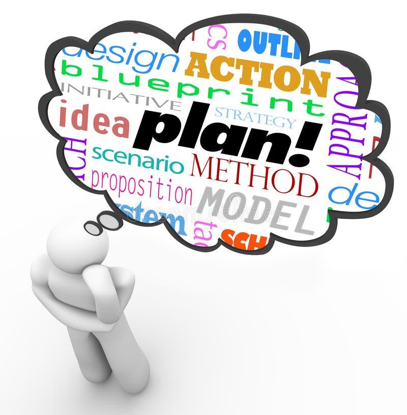 Imagination de nuage de pensée de penseur de stratégie de planification illustration stock