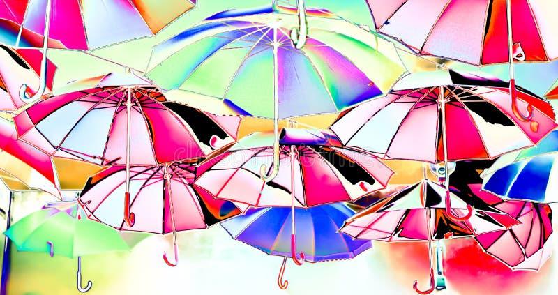 Imagination des parapluies colorés volant vers le ciel, vers la liberté illustration de vecteur