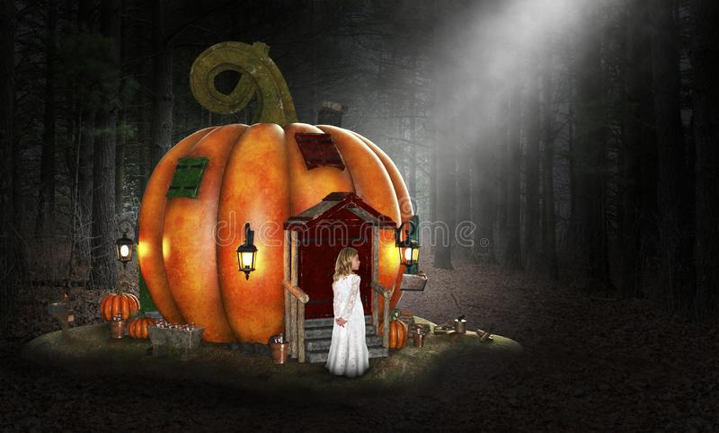 Imagination, Dream, Fun, Playtime, Children. A young girl uses her imagination to play in a pumpkin house in the deep dark woods and forest. The child has fun stock photography