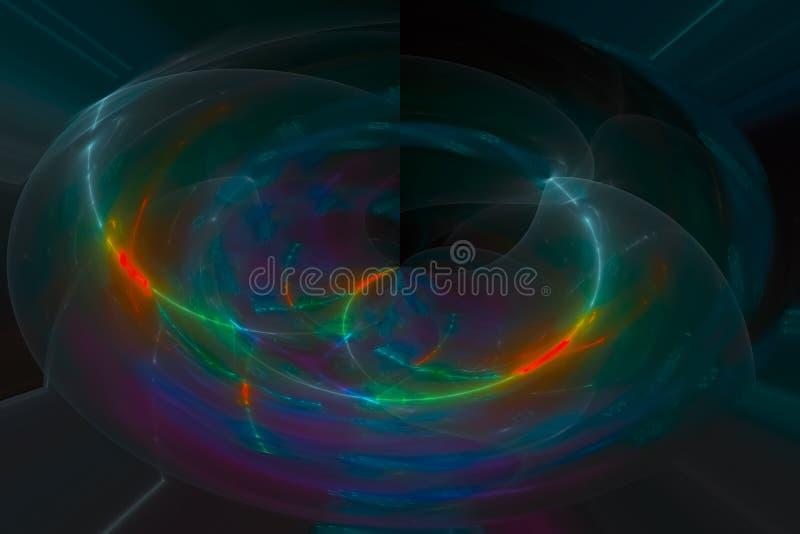 Imagination fantastique rougeoyante rougeoyante abstraite de la science de forme de remous de vague de lumière créative de chaos  photos stock