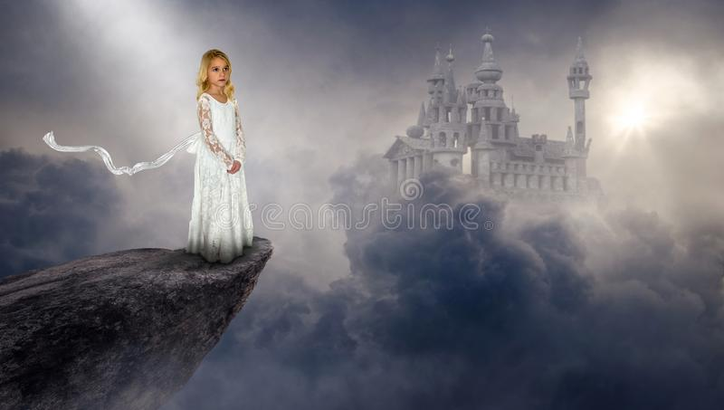 Imagination, Fantasy Castle, Girl, Peace. A young child girl uses her imagination to be in a surreal fantasy with a floating ancient medieval castle in the stock illustration