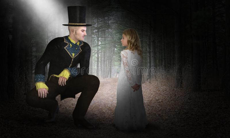 Imagination, Fantasy, Girl, Handsome Man. A young girl uses her imagination to play with a handsome young man dressed in vintage Victorian clothes. Children love stock photo