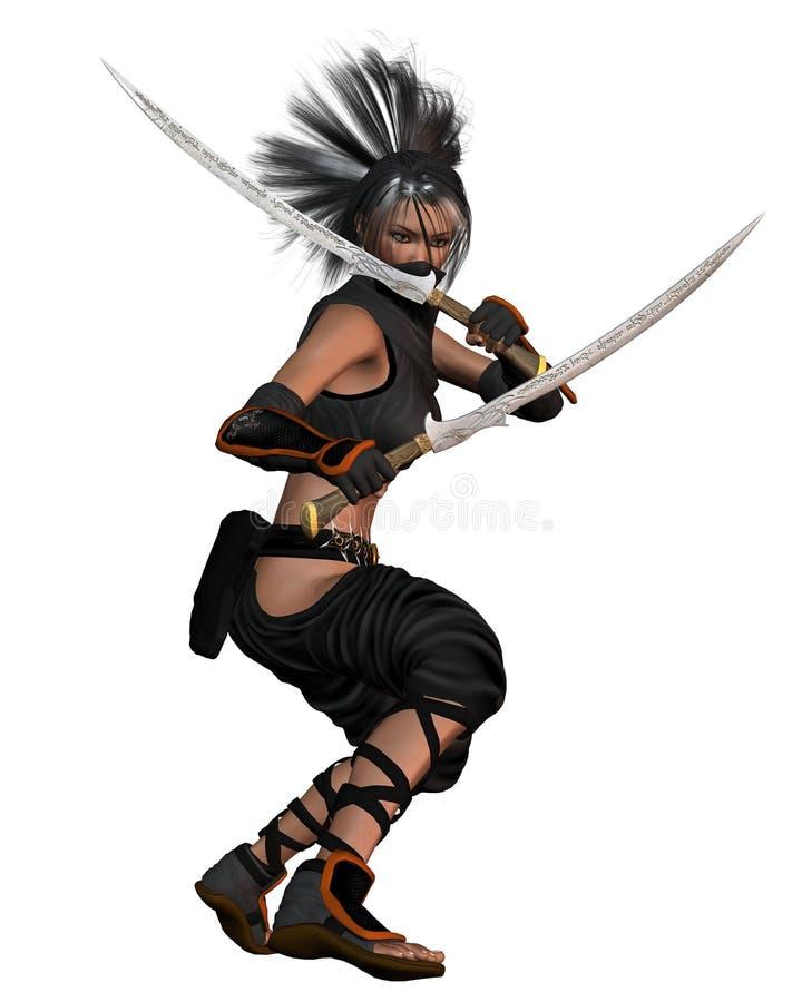 Imagination femelle Ninja - restant illustration stock