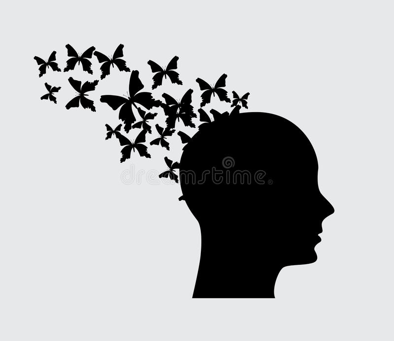 Imagination flying. Over gray background vector illustratiov royalty free illustration