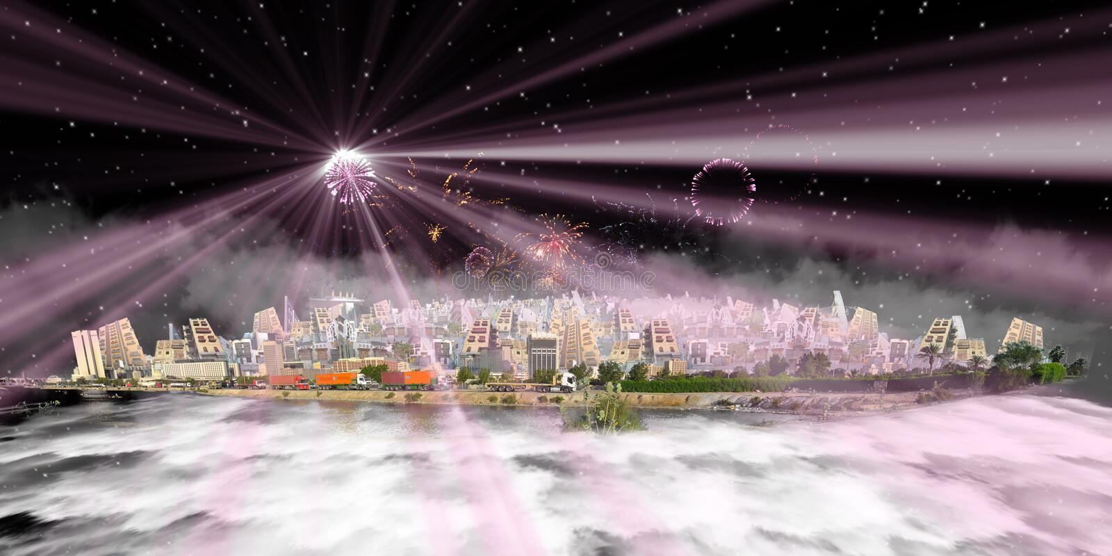 Imagination jeddah over clouds at night with fireworks royalty free illustration