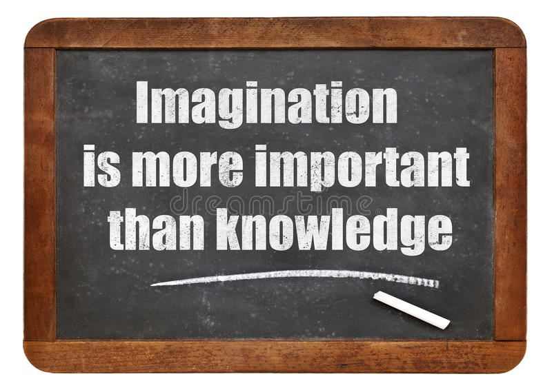 Imagination and knowledge quote. Imagination is more important than knowledge - a quote from Albert EInstein - white chalk text on a vintage slate blackboard stock photos