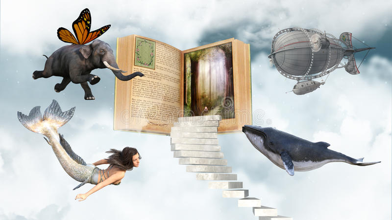 Imagination, livres, lecture, Storytime, amusement illustration libre de droits