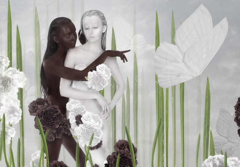 Imagination. Two Women Colored Black and White stock photo