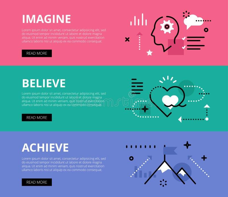 imagine believe achieve Web-Fahnen eingestellt lizenzfreie abbildung