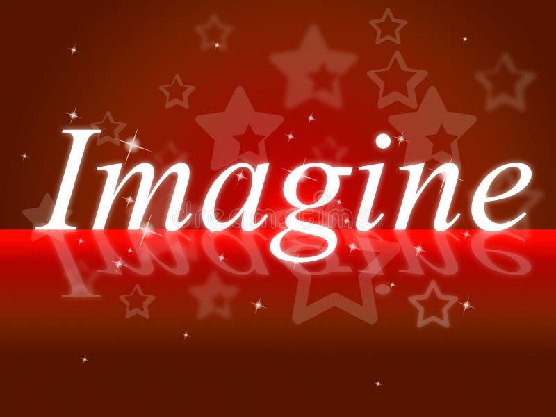 Imagine criativo pensativo das mostras dos pensamentos e imaginado ilustração do vetor
