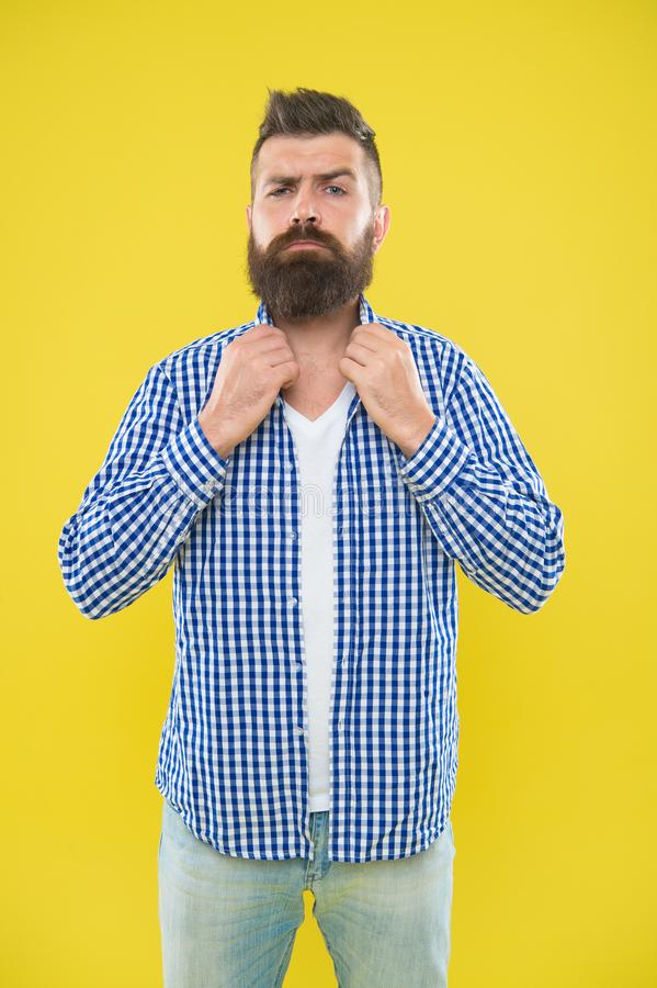 Imagine I have bow tie. Beard fashion and barber concept. Man bearded hipster beard yellow background. Barber tips. Maintain beard. Beard mustache care. Hipster royalty free stock photo