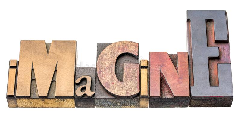 Imagine - isolated word abstract in wood type. Imagine - isolated word abstract in vintage letterpress printing blocks stock photography
