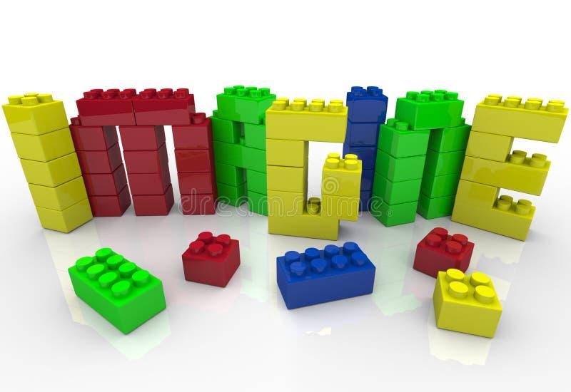 Imagine a palavra na faculdade criadora plástica da idéia dos blocos do brinquedo ilustração do vetor