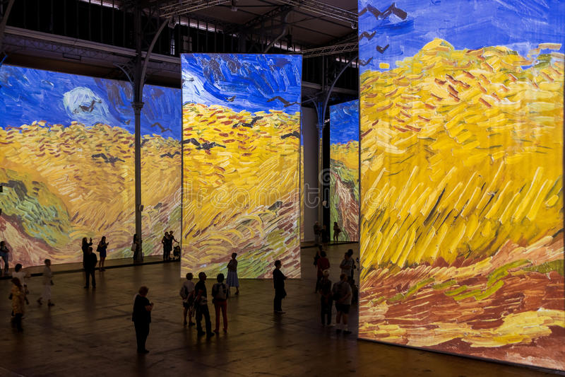 Paris - Exhibition Imagine Van Gogh royalty free stock photography
