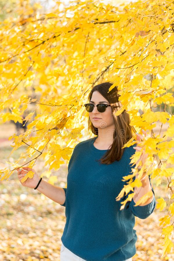 Imagined young teenage girl under a tree with a yellow leaf in autumn.  stock images