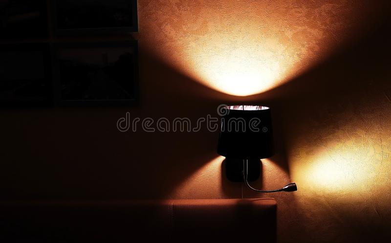 Wall sconce for apartment or hotel. Mounted on the wall. Details and close-up. Wall sconce for apartment or hotel. Mounted on the wall. Details close-up royalty free stock photos
