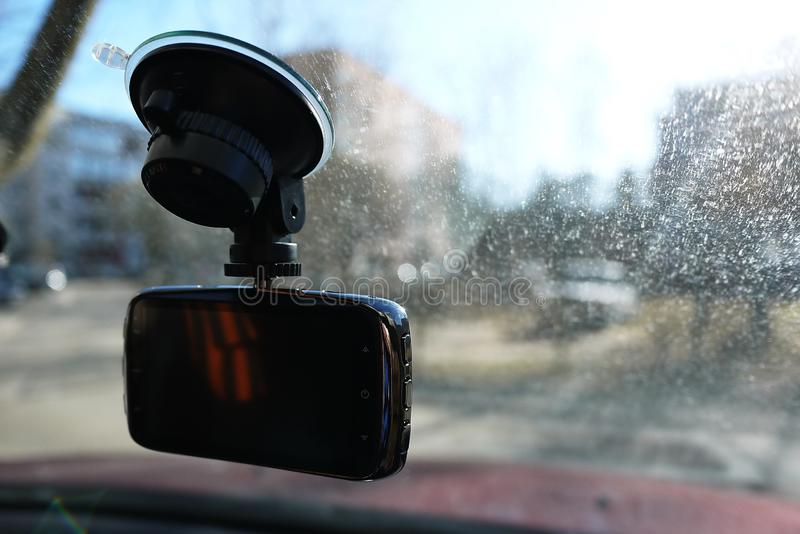 Video recorder to record the traffic situation while driving your car. It can be used both in cars and trucks. stock photos