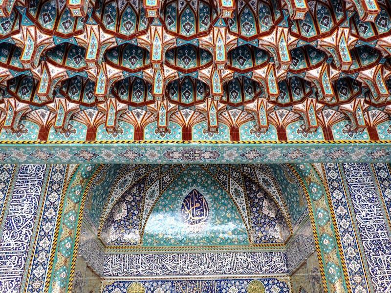 Design at entrance gate of Holy Shrine of Husayn Ibn Ali, Karbala, Iraq. The Imam Husain Shrine or the Station of Imam Husayn Ibn Ali is the mosque and burial stock images