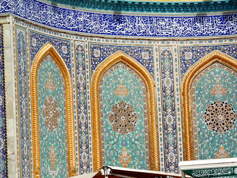 Design of the walls of the Holy Shrine of Husayn Ibn Ali, Karbala, Iraq. The Imam Husain Shrine or the Station of Imam Husayn Ibn Ali is the mosque and burial stock image