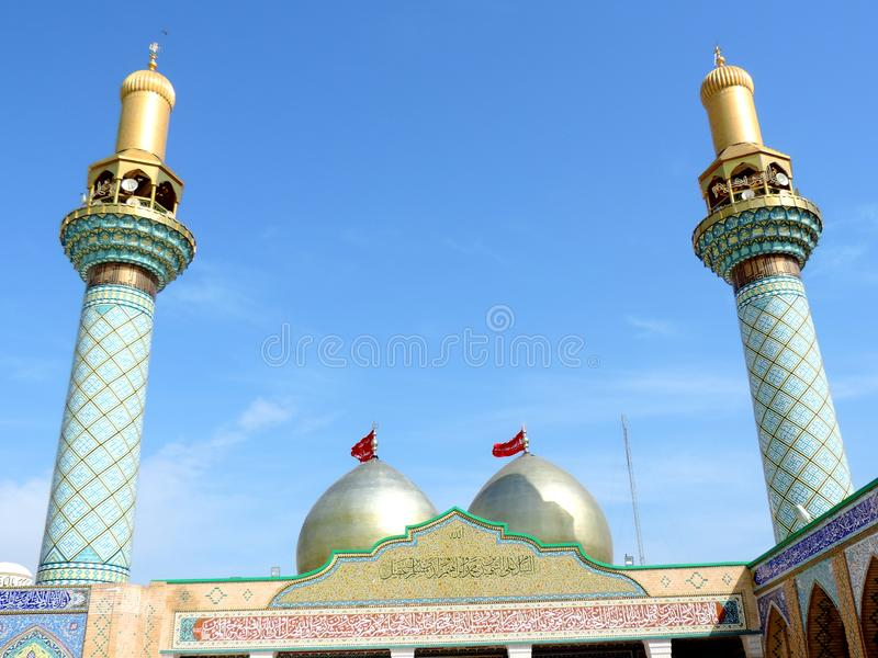 Holy Shrine of Husayn Ibn Ali, Karbala, Iraq. The Imam Husain Shrine or the Station of Imam Husayn Ibn Ali is the mosque and burial site of Husayn Ibn Ali, the stock photo