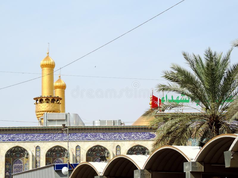 Holy Shrine of Husayn Ibn Ali, Karbala, Iraq. The Imam Husain Shrine or the Station of Imam Husayn Ibn Ali is the mosque and burial site of Husayn Ibn Ali, the stock photography