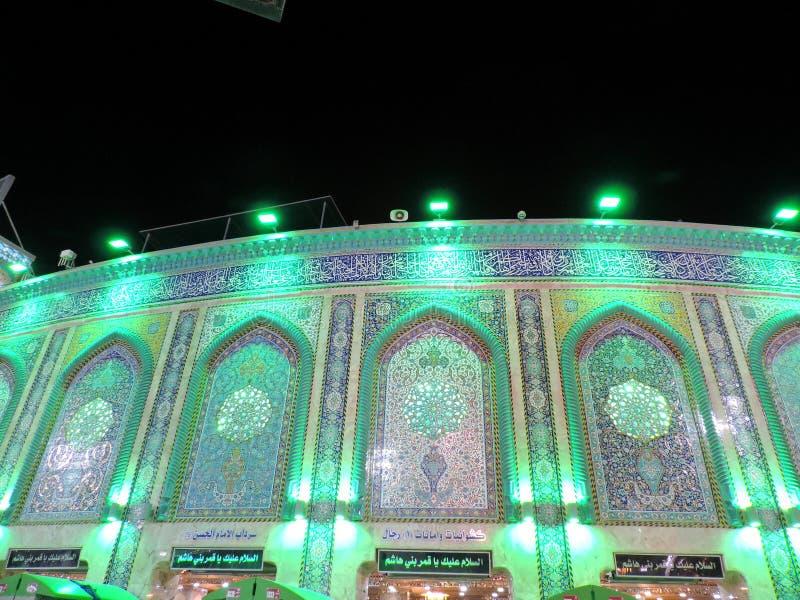 Illuminated entrance of Holy Shrine of Husayn Ibn Ali, Karbala, Iraq. The Imam Husain Shrine or the Station of Imam Husayn Ibn Ali is the mosque and burial site royalty free stock photography