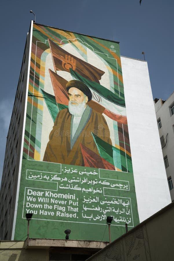 Imam Sayyid Ruhollah Musavi Khomeini angezeigt auf der Wand stockfoto