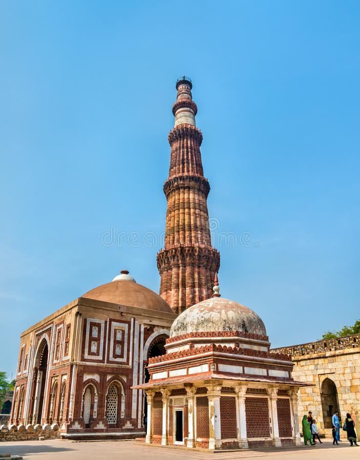 Imam Zamin Tomb, Alai Darwaza and Qutub Minar at the Qutb Complex in Delhi, India stock image