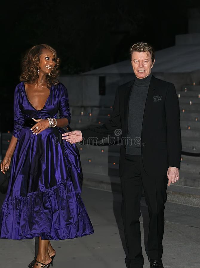 Iman en David Bowie royalty-vrije stock fotografie