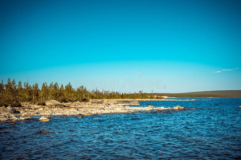 Imandra湖和寒带草原森林北风景 库存照片