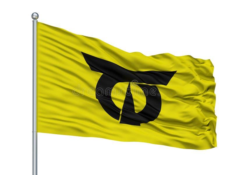Imari City Flag On Flagpole, Japan, Saga-Präfektur, lokalisiert auf weißem Hintergrund lizenzfreie abbildung