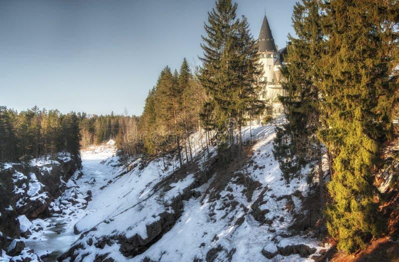 Imatra, Finlande, le 24 mars 2019 : Vue de l'hôtel de château dans Imatra en hiver image stock