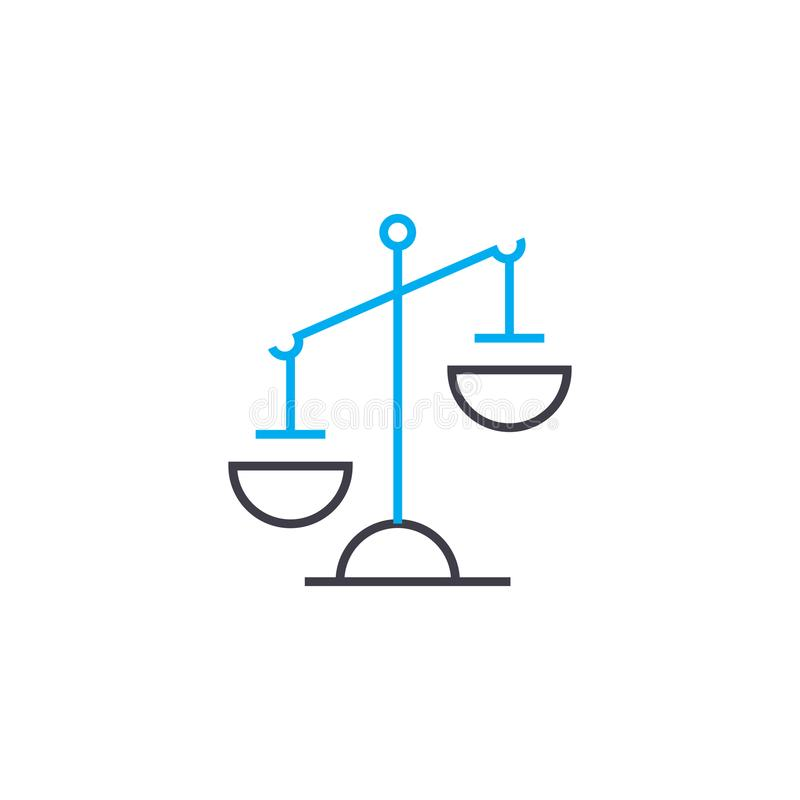 Imbalance vector thin line stroke icon. Imbalance outline illustration, linear sign, symbol concept. vector illustration