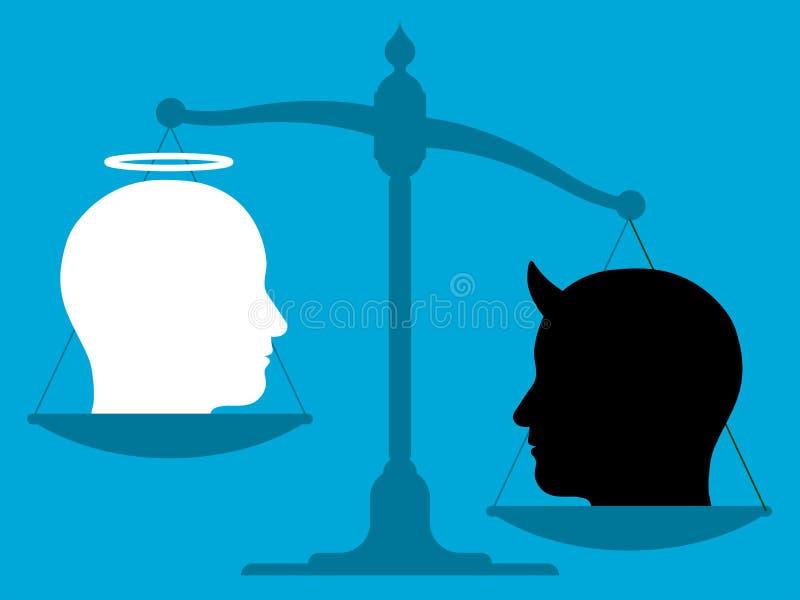Imbalanced Skala mit einem Engel und dem Teufel stock abbildung