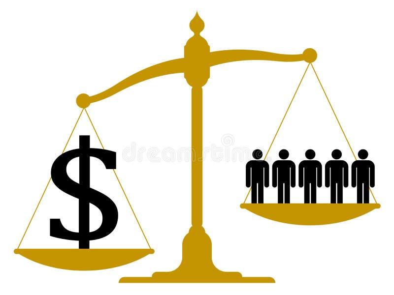 Imbalanced skala z ludźmi i dolarowym znakiem ilustracja wektor