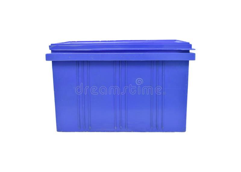 Imballaggio blu della scatola di plastica del prodotto dei prodotti finiti su fondo bianco immagini stock