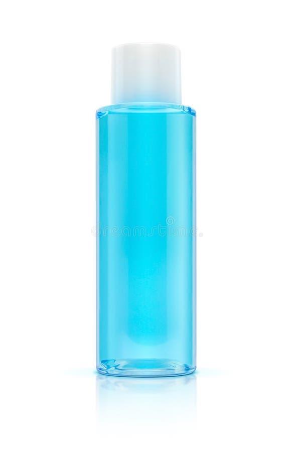 Imballaggio cosmetico della bottiglia blu del toner immagini stock libere da diritti