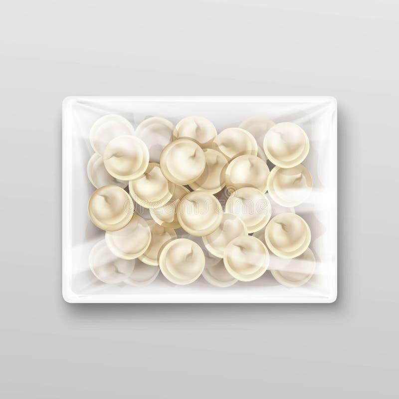 Imballaggio dei ravioli degli gnocchi della carne di Pelmeni illustrazione vettoriale