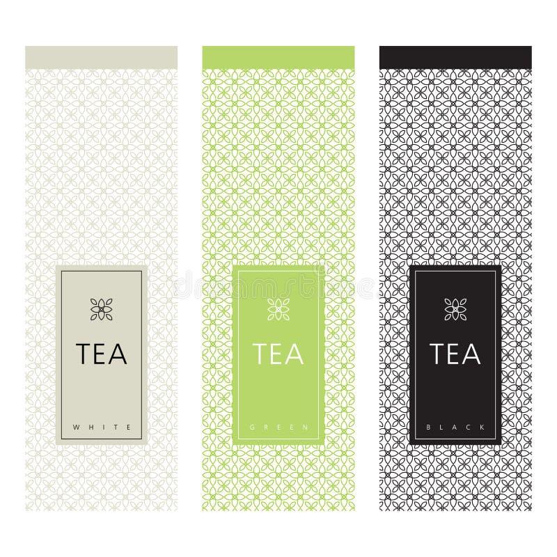 Imballaggio del tè elemento di progettazione del modello illustrazione di stock