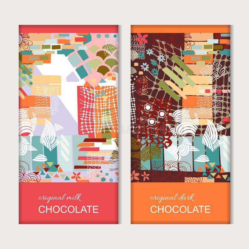 Imballaggio della barra di cioccolato Modello luminoso con i modelli astratti variopinti Disegno di vettore illustrazione vettoriale