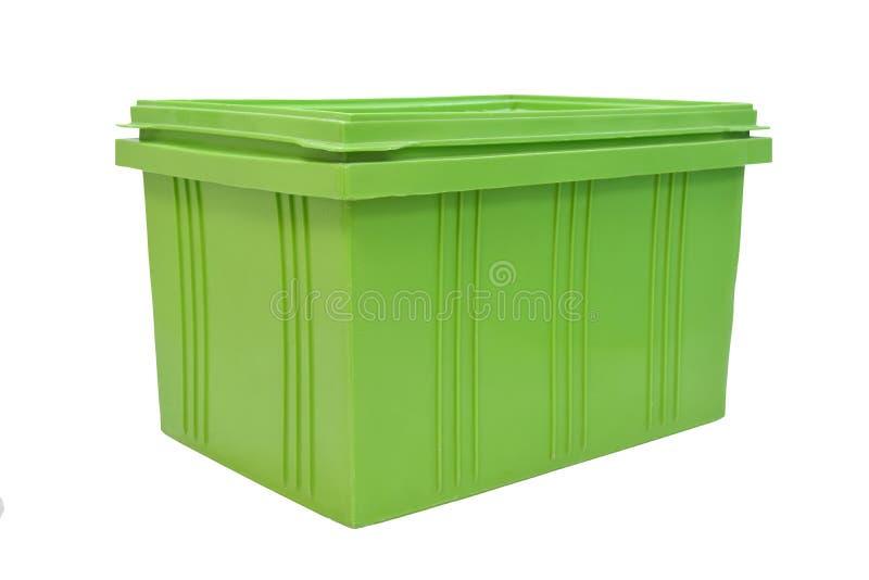 Imballaggio della scatola di plastica del prodotto dei prodotti finiti su backgroun bianco immagini stock