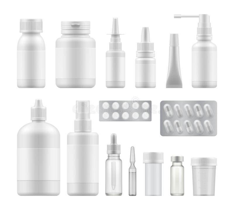 Imballaggio medico farmaceutico in bianco illustrazione vettoriale