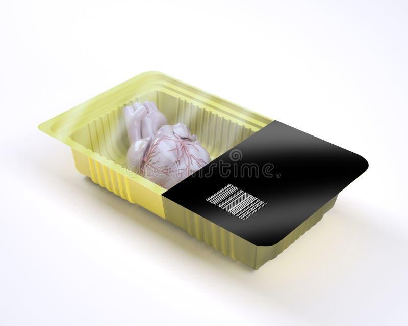 Imballaggio per alimenti con l'organo umano del cuore dentro illustrazione di stock