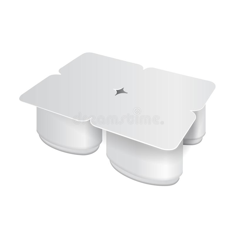 Imballaggio plastico bianco per yogurt, crema, il dessert o l'inceppamento Forma ovale Un pacchetto di quattro Modello d'imballag illustrazione di stock