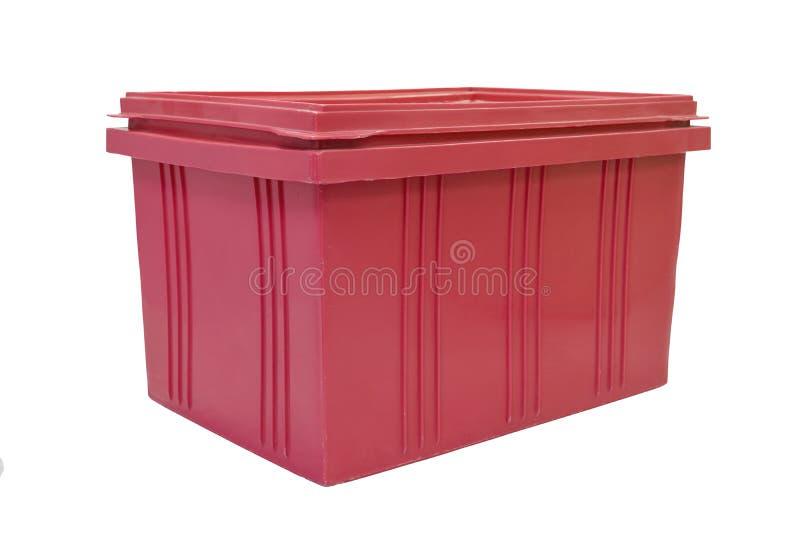 Imballaggio rosso della scatola di plastica del prodotto dei prodotti finiti su fondo bianco fotografia stock
