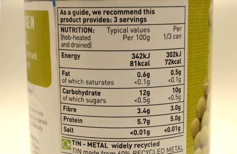 Imballaggio in scatola di valori nutrizionali dell'alimento immagini stock
