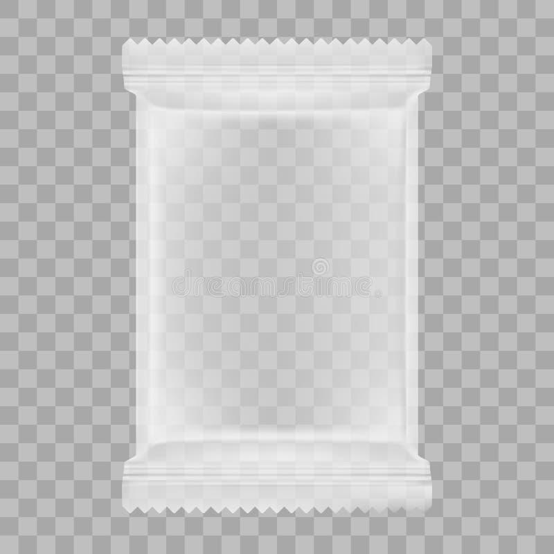Imballaggio trasparente per gli spuntini, le patatine fritte, lo zucchero, le spezie, o l'altro alimento illustrazione vettoriale